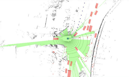 New research shows that what a self-driving car doesn't see (in green) is as important to navigation as what it actually sees (in red).